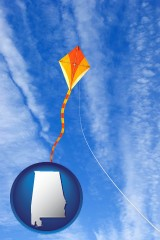 alabama map icon and flying a kite