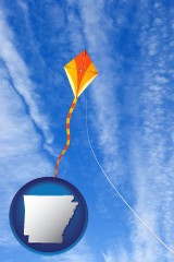 arkansas map icon and flying a kite
