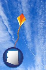 arizona map icon and flying a kite