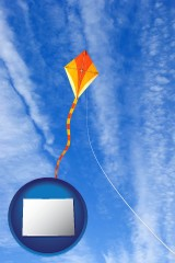 colorado map icon and flying a kite