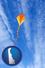 delaware map icon and flying a kite