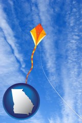 georgia map icon and flying a kite