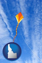 idaho map icon and flying a kite