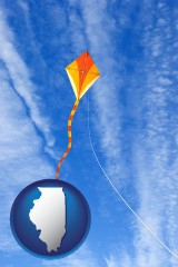 illinois map icon and flying a kite