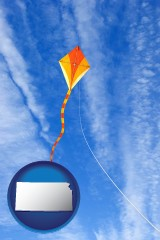 kansas map icon and flying a kite