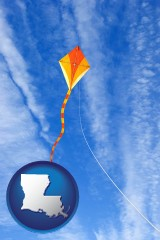louisiana map icon and flying a kite