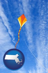 massachusetts map icon and flying a kite