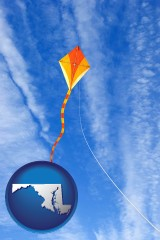 maryland map icon and flying a kite