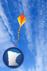 minnesota map icon and flying a kite