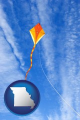 missouri map icon and flying a kite