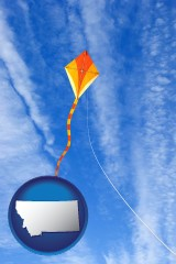 montana map icon and flying a kite