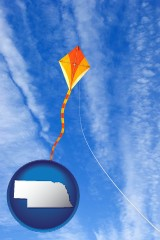 nebraska map icon and flying a kite