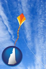 new-hampshire map icon and flying a kite