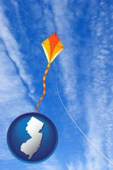 new-jersey map icon and flying a kite