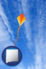 new-mexico map icon and flying a kite