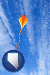nevada map icon and flying a kite
