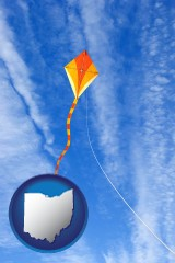 ohio map icon and flying a kite