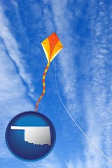 oklahoma map icon and flying a kite