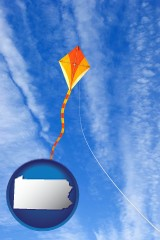 pennsylvania map icon and flying a kite