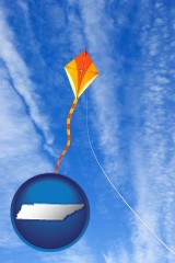 tennessee map icon and flying a kite