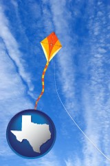 texas map icon and flying a kite