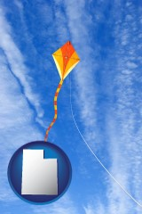 utah map icon and flying a kite