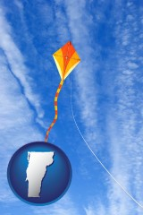 vermont map icon and flying a kite