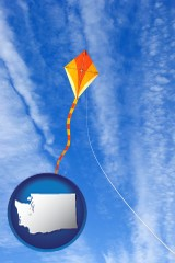 washington map icon and flying a kite