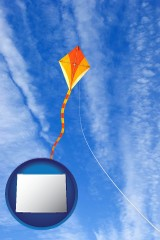 wyoming map icon and flying a kite