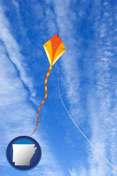 flying a kite - with Arkansas icon