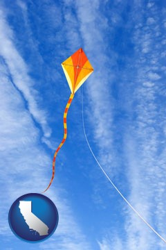 flying a kite - with California icon