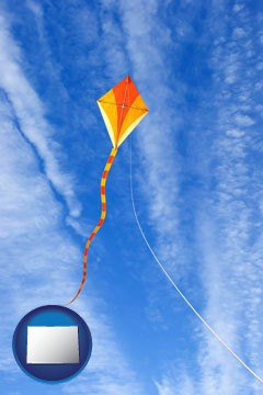 flying a kite - with Colorado icon