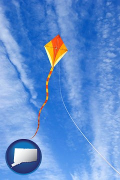 flying a kite - with Connecticut icon