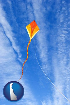 flying a kite - with Delaware icon