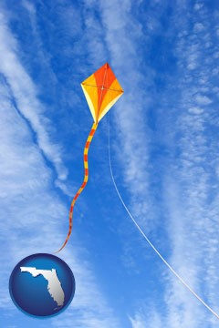 flying a kite - with Florida icon