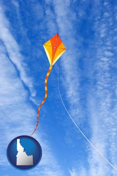 flying a kite - with Idaho icon