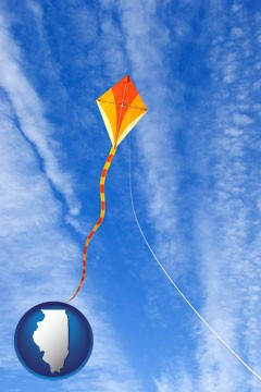 flying a kite - with Illinois icon