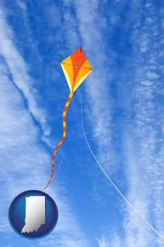 flying a kite - with Indiana icon