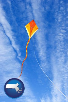 flying a kite - with Massachusetts icon