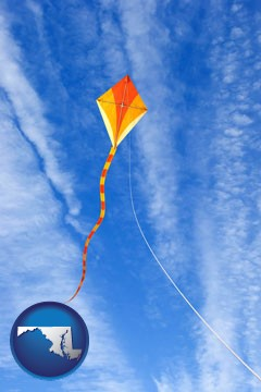 flying a kite - with Maryland icon
