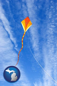 flying a kite - with Michigan icon