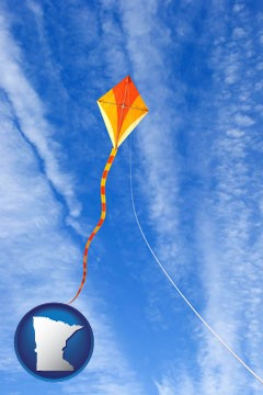 flying a kite - with Minnesota icon