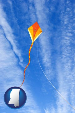 flying a kite - with Mississippi icon
