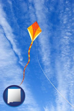 flying a kite - with New Mexico icon