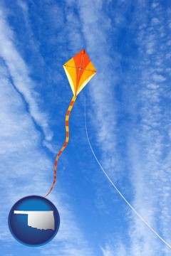 flying a kite - with Oklahoma icon