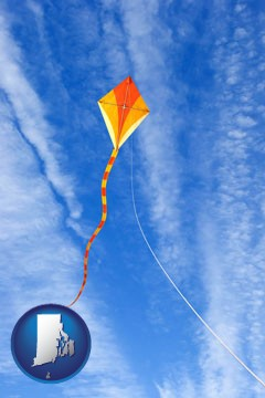 flying a kite - with Rhode Island icon
