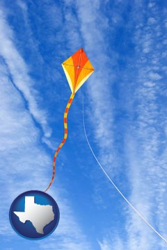 flying a kite - with Texas icon