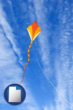 flying a kite - with Utah icon