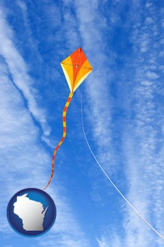 flying a kite - with Wisconsin icon