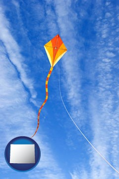 flying a kite - with Wyoming icon